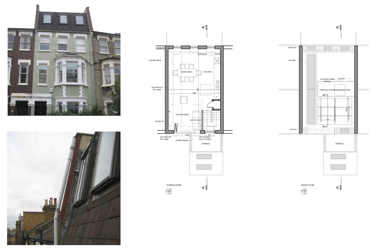 Fulham Broadway SW6 Fulham and Hammersmith Flat alterations to mansard roof Floor plans 1200x800 Fulham Broadway, H & Fulham SW6   Flat alterations to Mansard roof