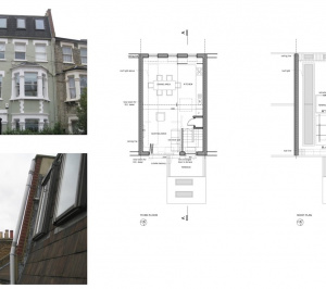 Fulham Broadway SW6 Fulham and Hammersmith Flat alterations to mansard roof Floor plans 300x266 Fulham Broadway, H & Fulham SW6   Flat alterations to Mansard roof