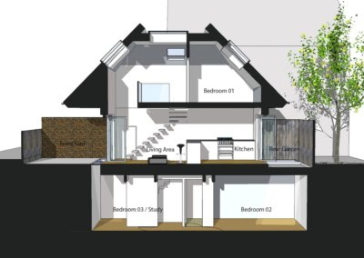 Southfields Wandsworth SW18 residential development – Architect design section copy 400x284 Filterable Portfolio of Residential Architecture Projects