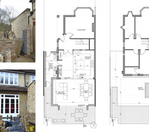 Architect designed house extension Grange Park Enfield N21 Floor Plans 300x266 Grange Park, Enfield N21   House extension and alterations