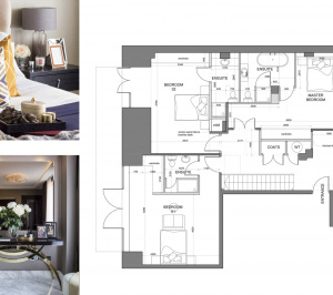 St James Park Westminster SW1H Penthouse alterations and refurbishment Floor plan and furnishings 300x266 St James Park, Westminster SW1H | Penthouse alterations and refurbishment