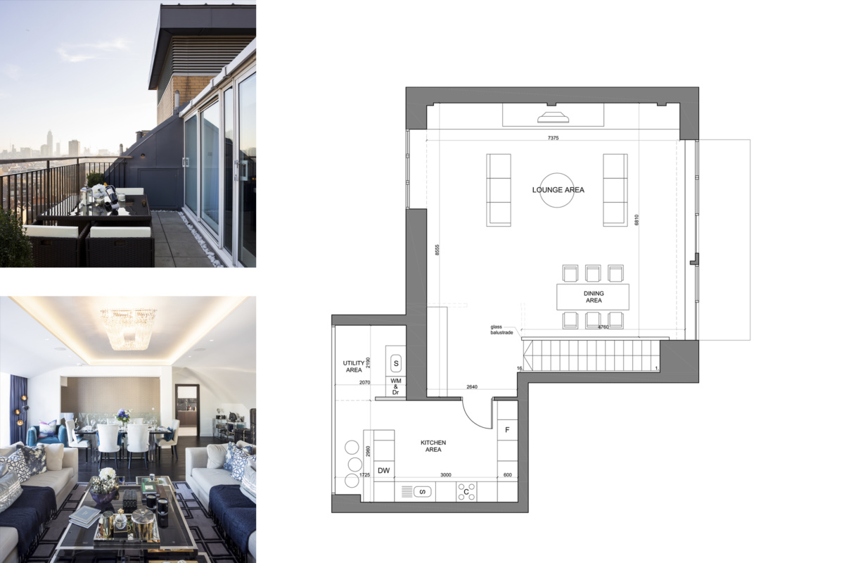 St James Park Westminster SW1H Penthouse alterations and refurbishment Floor plan and living areas 2 1200x800 St James Park, Westminster SW1H | Penthouse alterations and refurbishment
