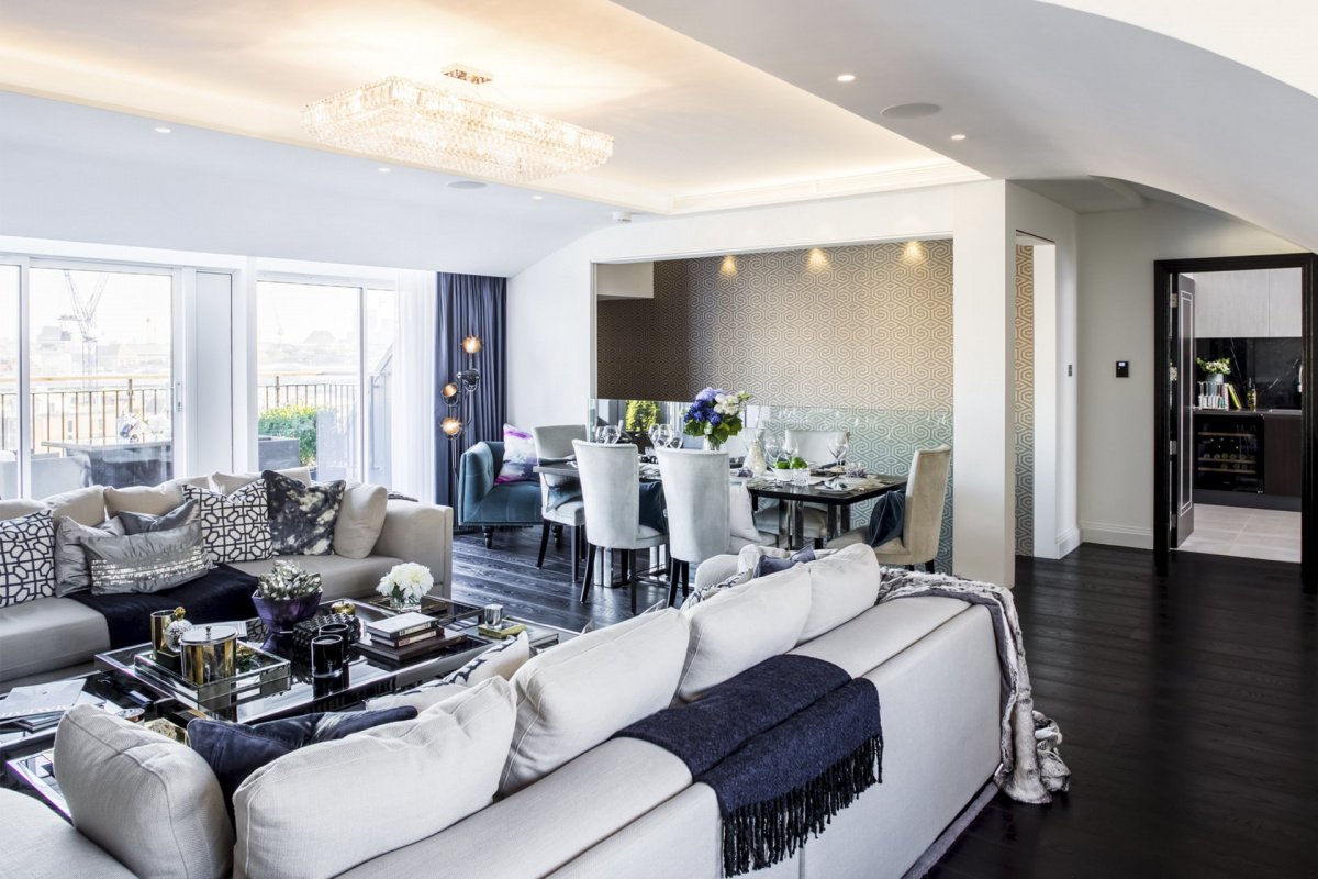 St James Park Westminster SW1H Penthouse alterations and refurbishment Living and dining area 1200x800 St James Park, Westminster SW1H | Penthouse alterations and refurbishment