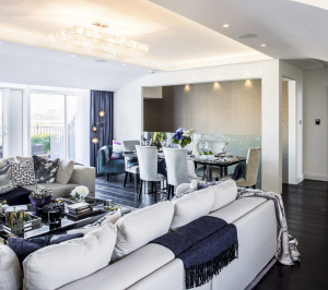 St James Park Westminster SW1H Penthouse alterations and refurbishment Living and dining area 300x266 St James Park, Westminster SW1H | Penthouse alterations and refurbishment