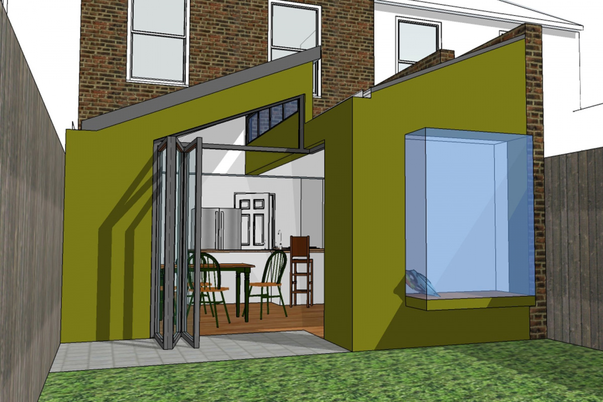 Barnes Richmond SW14 – Rear house kitchen extension – 3D image 1200x800 Barnes, Richmond SW14 | Rear house kitchen extension