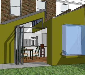 Barnes Richmond SW14 – Rear house kitchen extension – 3D image 300x266 Barnes, Richmond SW14 | Rear house kitchen extension
