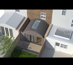 Angel Islington N1 Listed House rear extension – 3D Birds eye view 300x266 Angel, Islington N1   Listed house rear extension