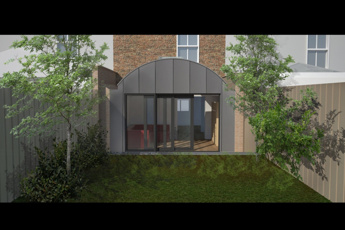 Angel Islington N1 Listed House rear extension – 3D Rear elevation 1200x800 Angel, Islington N1   Listed house rear extension