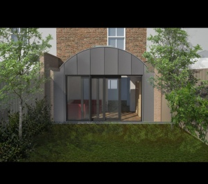 Angel Islington N1 Listed House rear extension – 3D Rear elevation 300x266 Angel, Islington N1   Listed house rear extension