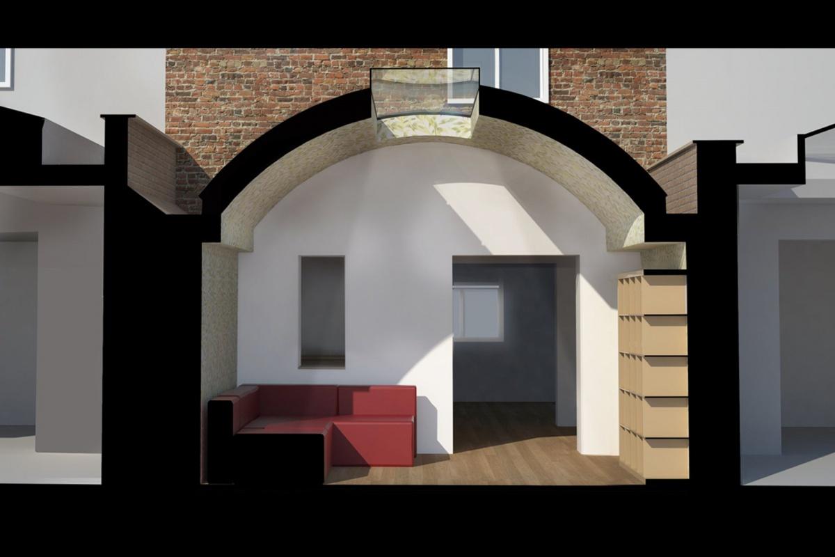Angel Islington N1 Listed House rear extension – 3D Section 1200x800 Angel, Islington N1   Listed house rear extension