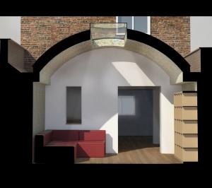 Angel Islington N1 Listed House rear extension – 3D Section 300x266 Angel, Islington N1   Listed house rear extension
