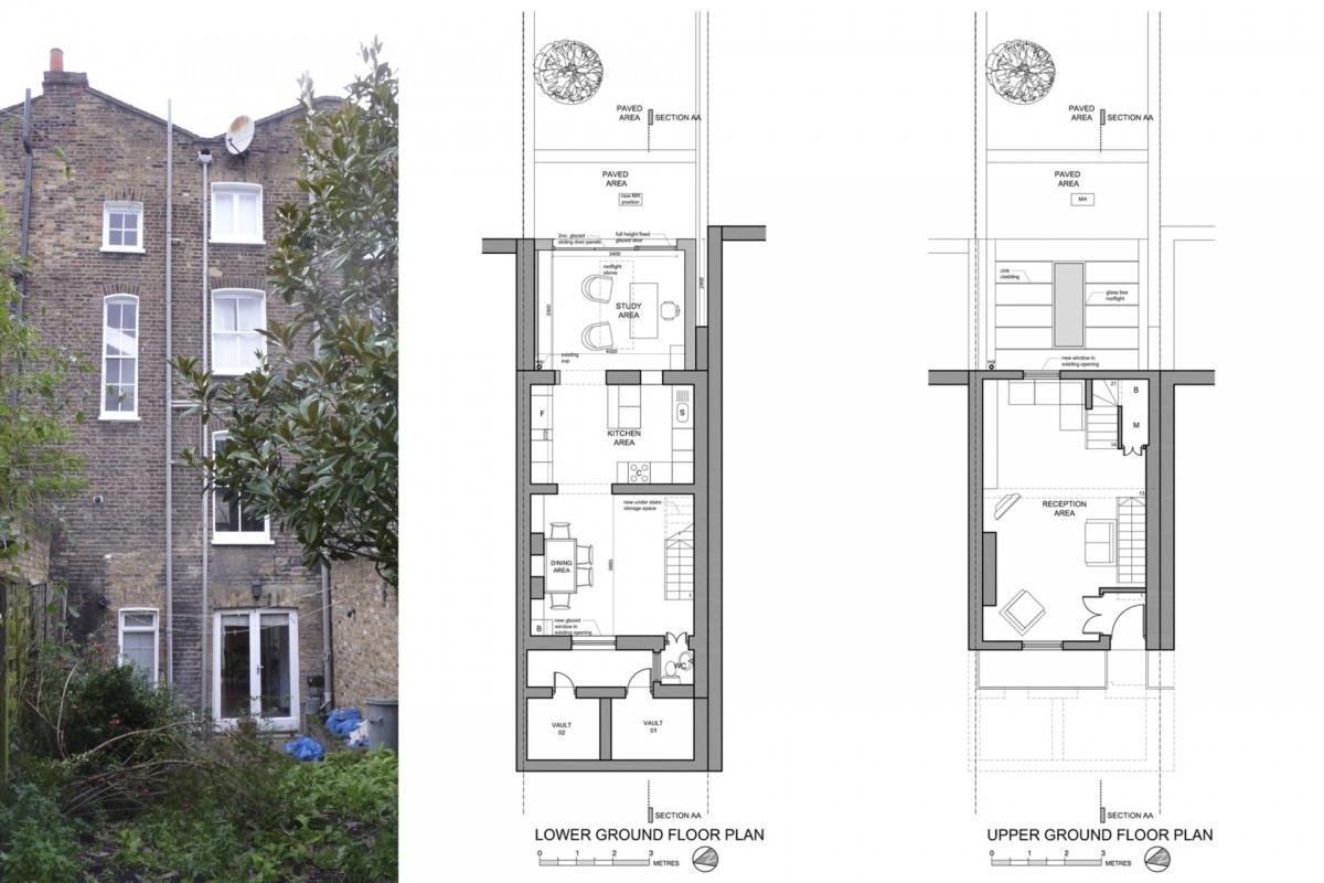 Angel Islington N1 Listed House rear extension – Floor plans and existing photo 1200x800 Angel, Islington N1   Listed house rear extension