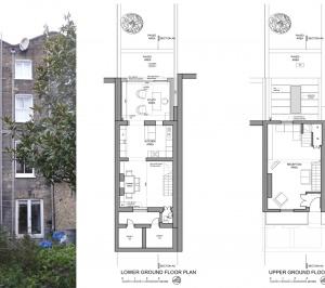 Angel Islington N1 Listed House rear extension – Floor plans and existing photo 300x266 Angel, Islington N1   Listed house rear extension