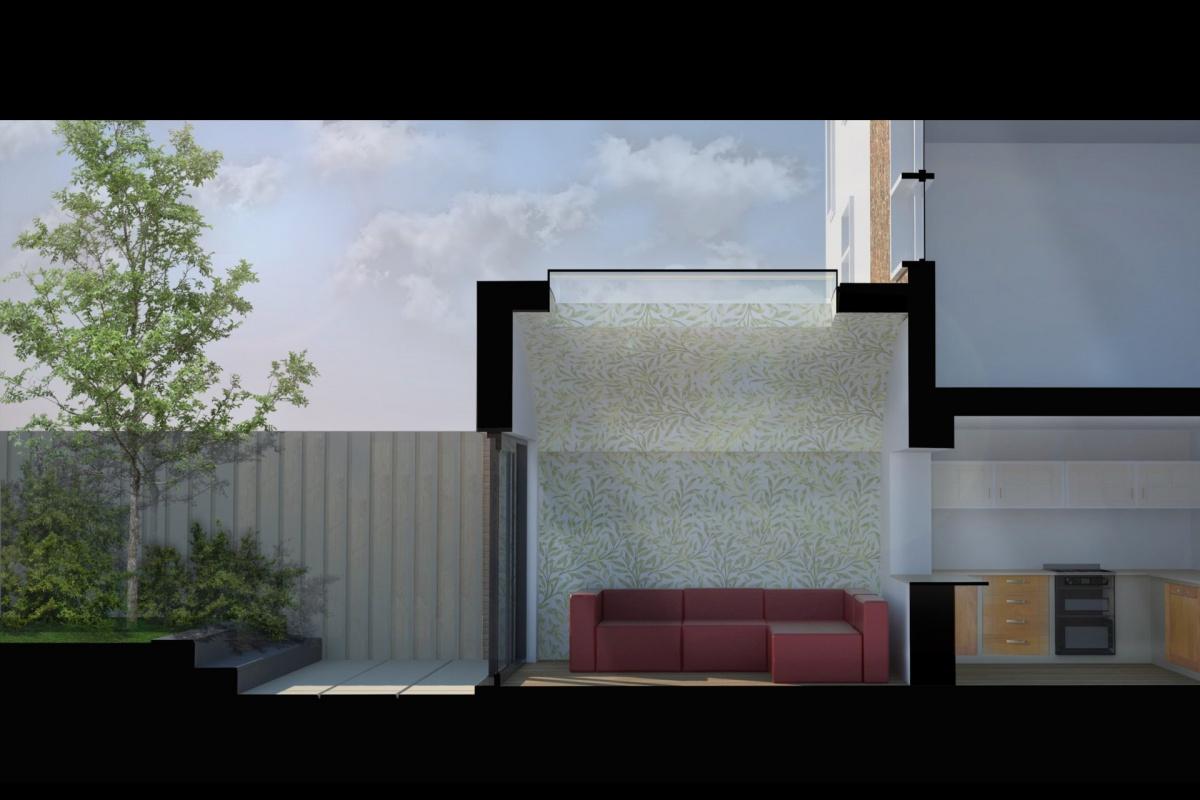 Angel Islington N1 Listed House rear extension – Section 3D 1 1200x800 Angel, Islington N1   Listed house rear extension