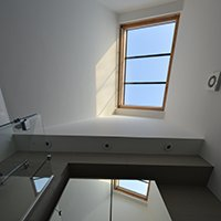 Architect designed house extension with full refurbishment Lewisham SE13 Bathroom rooflight 200x200 Lewisham residential architect projects