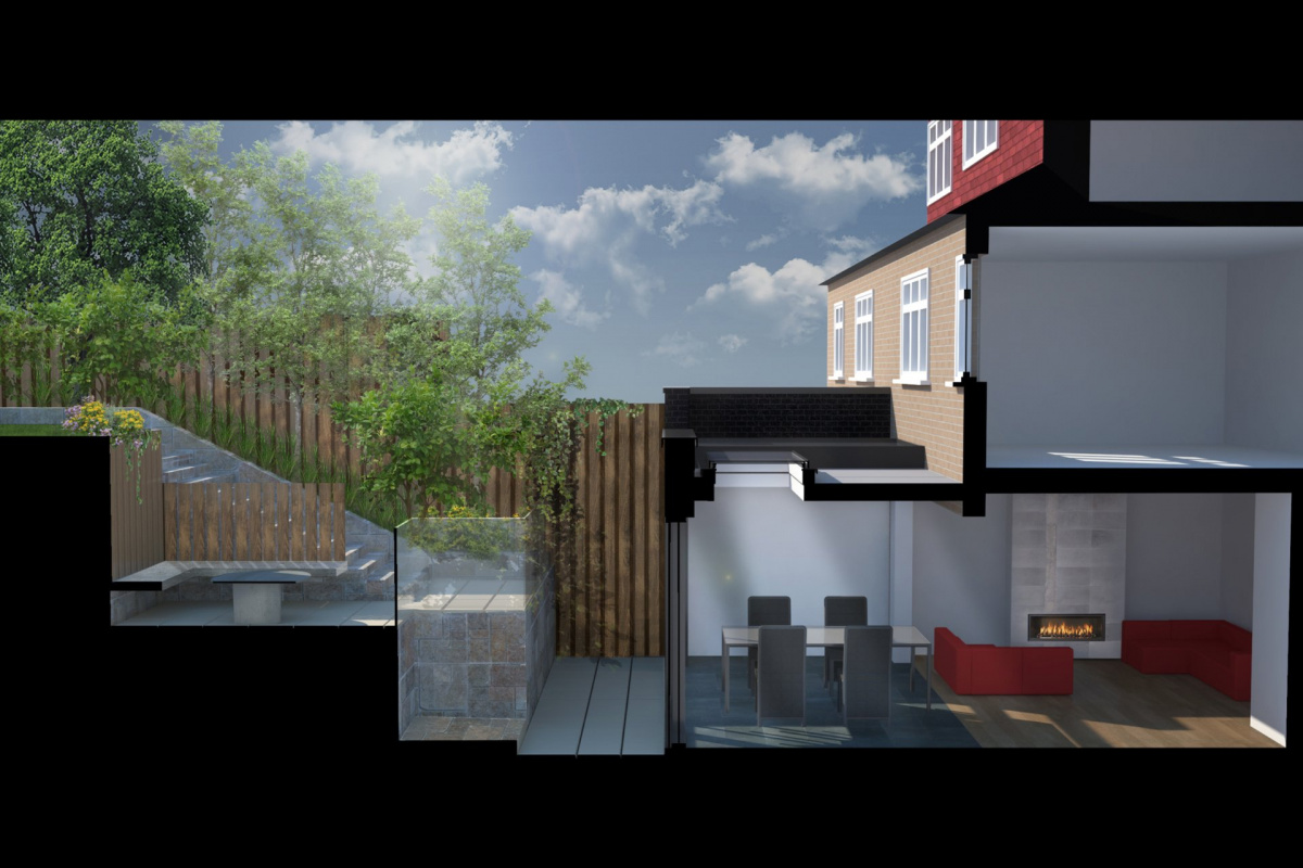 Architect designed rear house extension Highgate Haringey N6 – 3D Section  1200x800 Highgate, Haringey N6 | Rear house extension