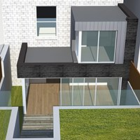 Architect designed two storey house extension Brockley Lewisham SE4 – 3D Rear elevation 200x200 Lewisham residential architect projects