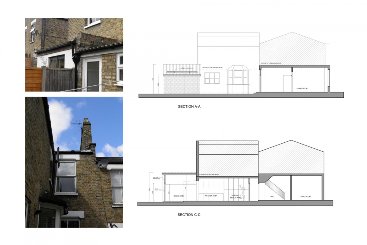 Nunhead Lewisham SE15 house kitchen extension – Architectural sections 1200x800 Nunhead, Lewisham SE15   House kitchen extension