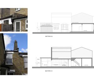Nunhead Lewisham SE15 house kitchen extension – Architectural sections 300x266 Nunhead, Lewisham SE15   House kitchen extension