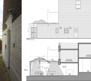 Architect designed garden flat extension Tooting Broadway Wandsworth SW17 Section and elevation 1 300x266 Tooting Broadway, Wandsworth SW17 | Garden flat extension