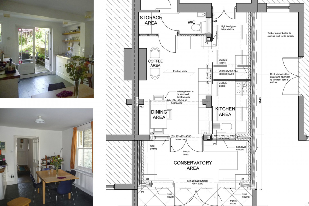 Architect designed kitchen and roof house extension Arsenal Islington N5 Ground floor 1 1200x800 Arsenal, Islington N5   Kitchen and roof house extension