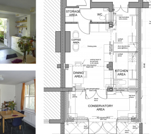 Architect designed kitchen and roof house extension Arsenal Islington N5 Ground floor 1 300x266 Arsenal, Islington N5   Kitchen and roof house extension