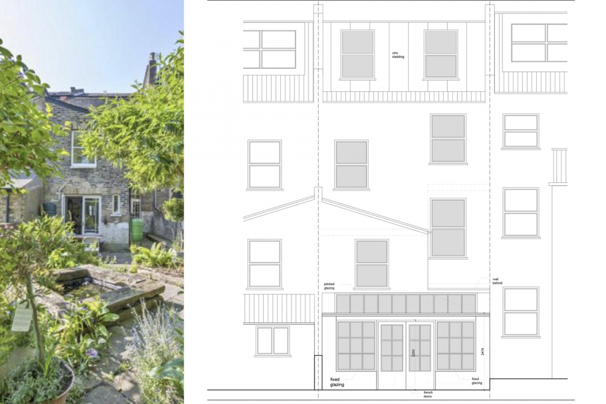 Architect designed kitchen and roof house extension Arsenal Islington N5 Rear elevation 1 1200x800 Arsenal, Islington N5   Kitchen and roof house extension