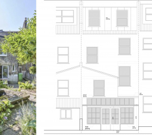 Architect designed kitchen and roof house extension Arsenal Islington N5 Rear elevation 1 300x266 Arsenal, Islington N5   Kitchen and roof house extension
