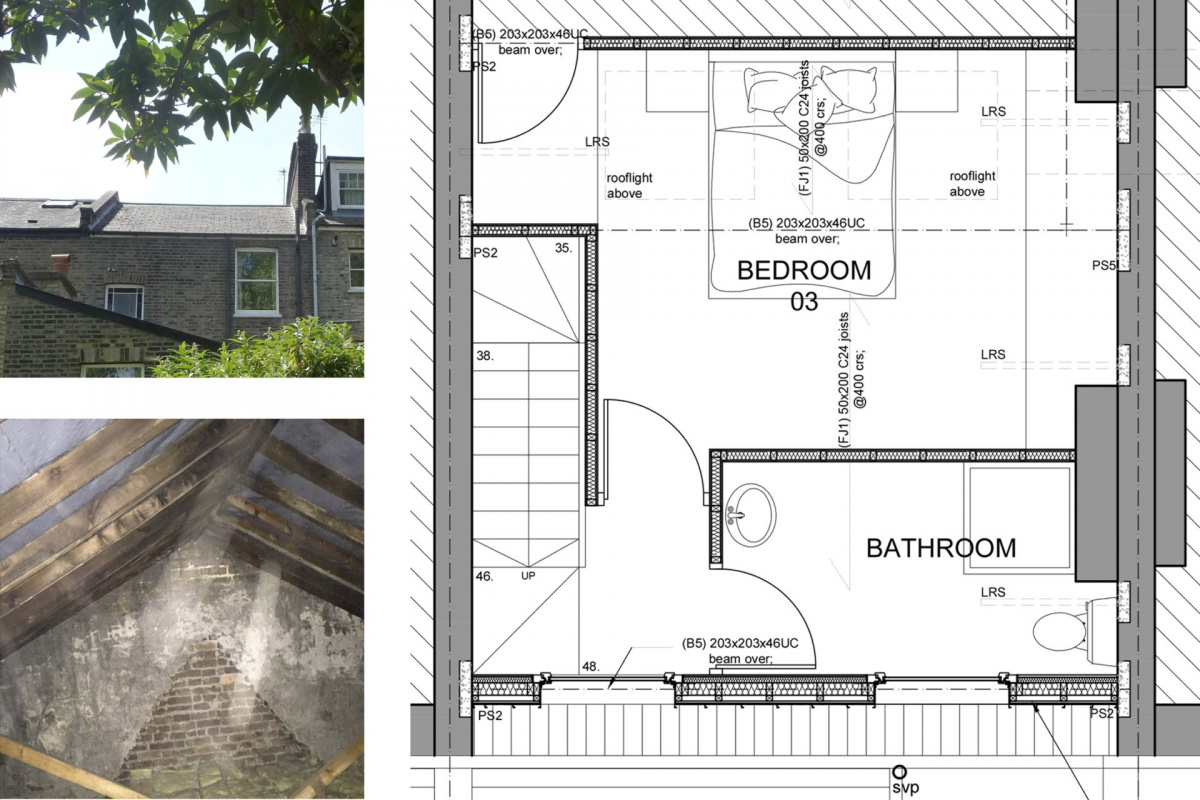 Architect designed kitchen and roof house extension Arsenal Islington N5 Roof floor 1 1200x800 Arsenal, Islington N5   Kitchen and roof house extension