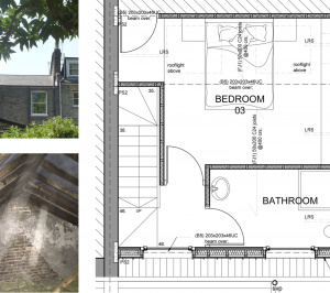 Architect designed kitchen and roof house extension Arsenal Islington N5 Roof floor 1 300x266 Arsenal, Islington N5   Kitchen and roof house extension