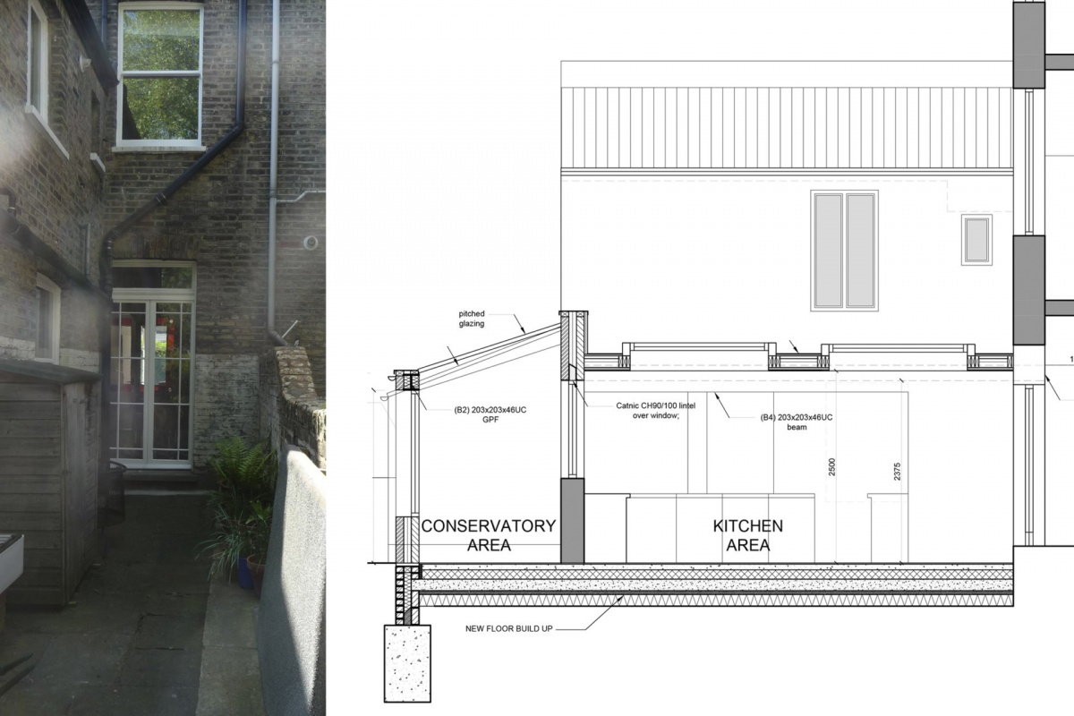 Architect designed kitchen and roof house extension Arsenal Islington N5 Section 1 1200x800 Arsenal, Islington N5   Kitchen and roof house extension