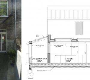 Architect designed kitchen and roof house extension Arsenal Islington N5 Section 1 300x266 Arsenal, Islington N5   Kitchen and roof house extension