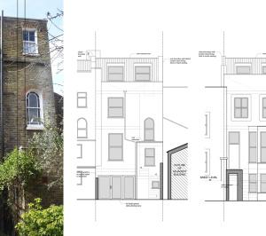 Architect designed mansard roof extension Finsbury Park Islington N7 Elevations 1 300x266 Finsbury Park, Islington N7 | Mansard roof extension