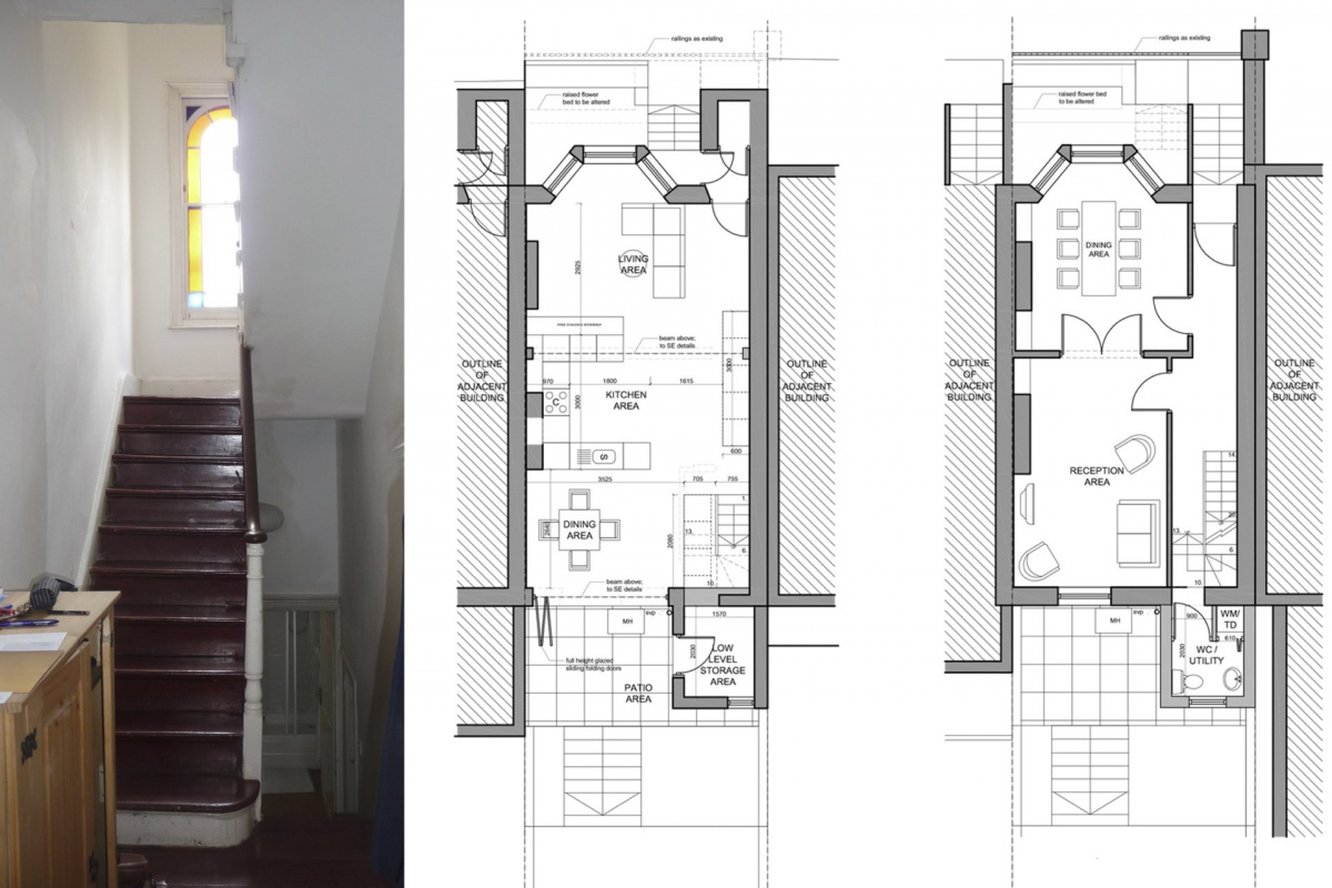 Architect designed mansard roof extension Finsbury Park Islington N7 Lower floor plans 1 1200x800 Finsbury Park, Islington N7 | Mansard roof extension