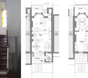 Architect designed mansard roof extension Finsbury Park Islington N7 Lower floor plans 1 300x266 Finsbury Park, Islington N7 | Mansard roof extension