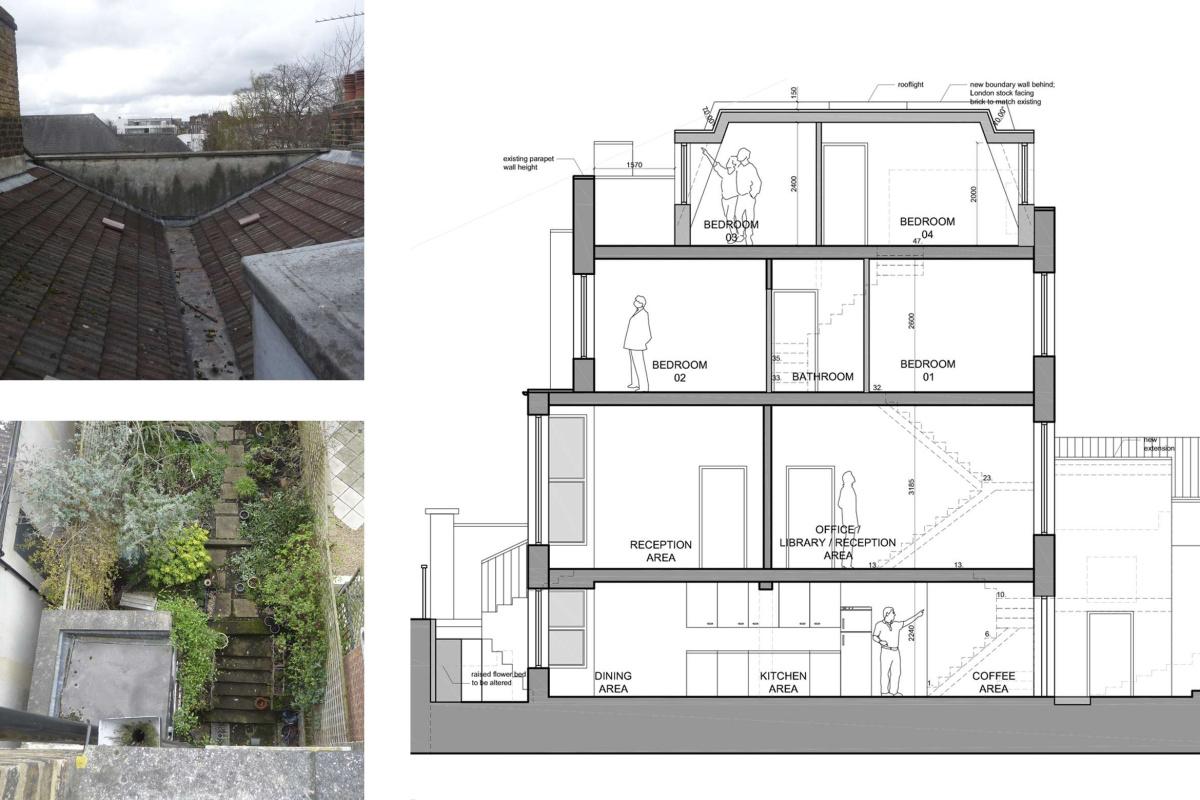 Architect designed mansard roof extension Finsbury Park Islington N7 Section 1 1200x800 Finsbury Park, Islington N7 | Mansard roof extension