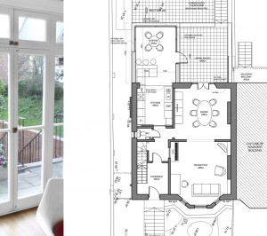 Architect designed rear house extension Tufnell Park Camden NW5 First floor 300x266 Tufnell Park, Camden NW5   Rear house extension