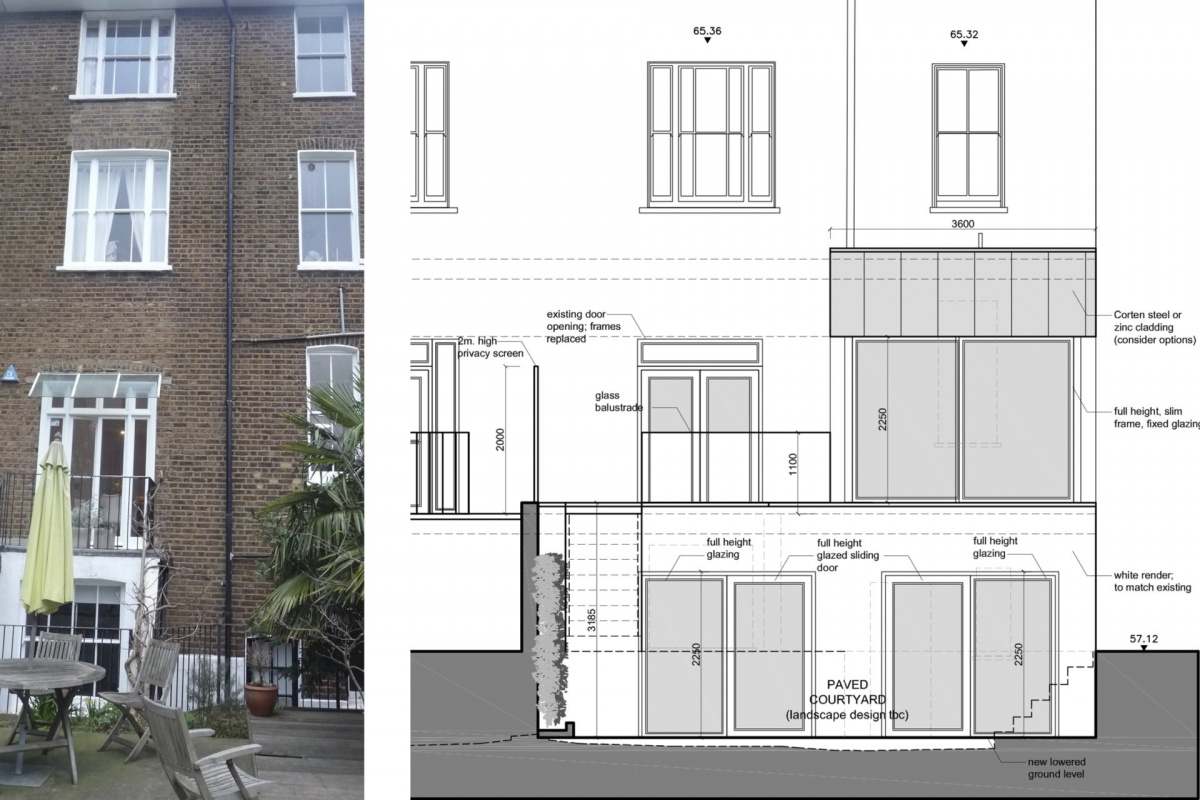 Architect designed rear house extension Tufnell Park Camden NW5 Rear elevation 1200x800 Tufnell Park, Camden NW5   Rear house extension