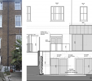 Architect designed rear house extension Tufnell Park Camden NW5 Rear elevation 300x266 Tufnell Park, Camden NW5   Rear house extension