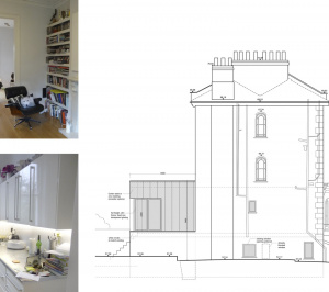 Architect designed rear house extension Tufnell Park Camden NW5 Side elevation 300x266 Tufnell Park, Camden NW5   Rear house extension