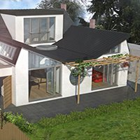 Architect designed residential extension Stoneleigh KT17 – 3D Rear 200x200 Roof extensions London | Home design