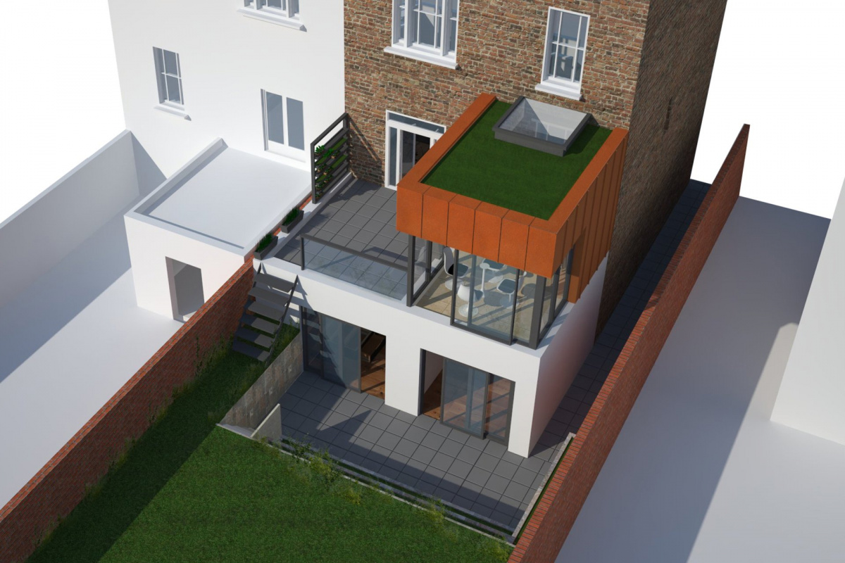 Architect designed rear house extension Tufnell Park Camden NW5 3D Arial view 1200x800 Tufnell Park, Camden NW5   Rear house extension