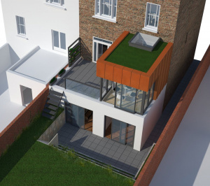 Architect designed rear house extension Tufnell Park Camden NW5 3D Arial view 300x266 Tufnell Park, Camden NW5   Rear house extension