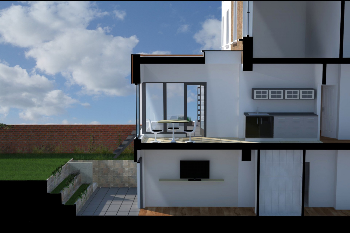 Architect designed rear house extension Tufnell Park Camden NW5 3D Section AA 1200x800 Tufnell Park, Camden NW5   Rear house extension