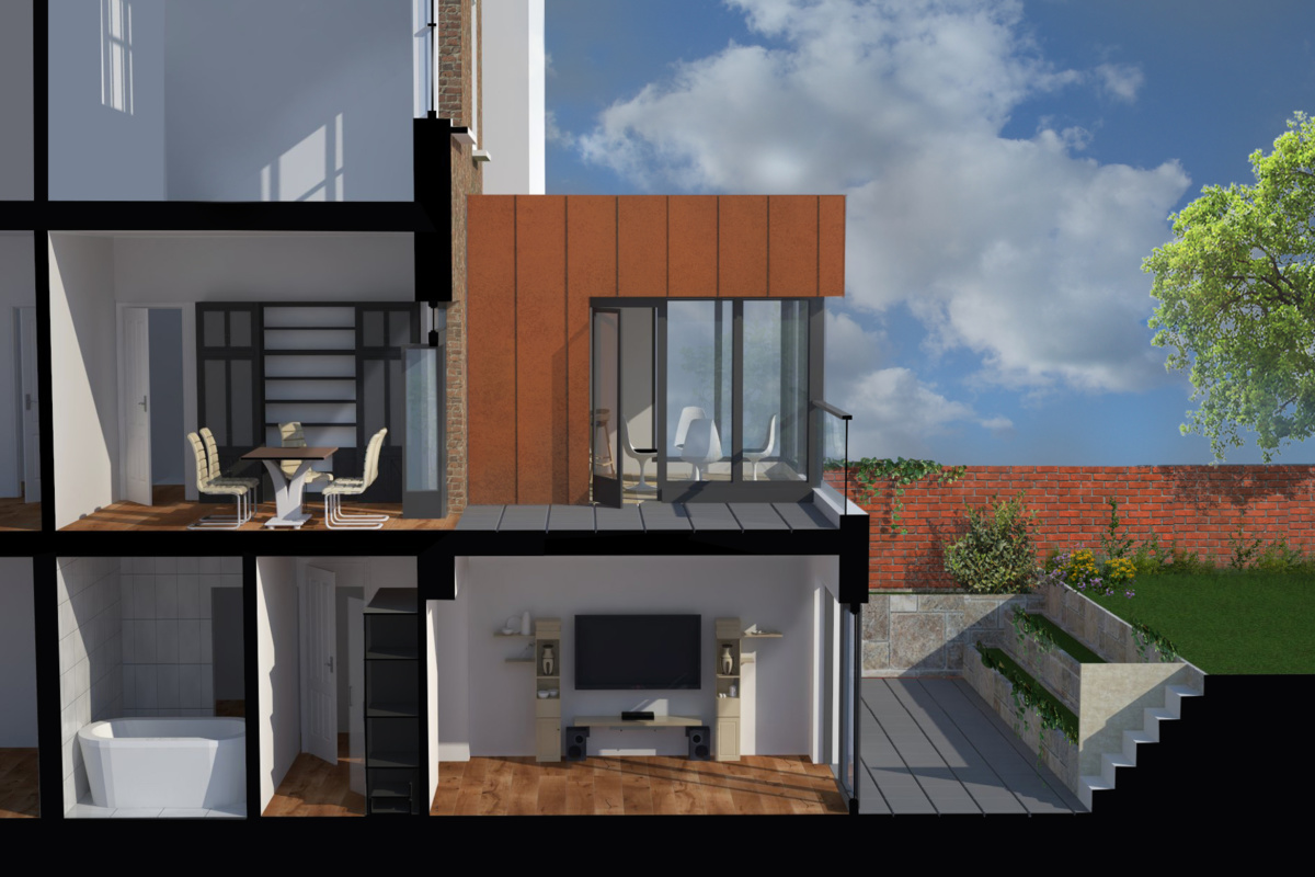 Architect designed rear house extension Tufnell Park Camden NW5 3D Section BB 1200x800 Tufnell Park, Camden NW5   Rear house extension