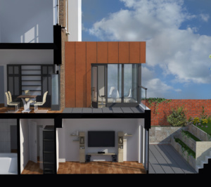 Architect designed rear house extension Tufnell Park Camden NW5 3D Section BB 300x266 Tufnell Park, Camden NW5   Rear house extension