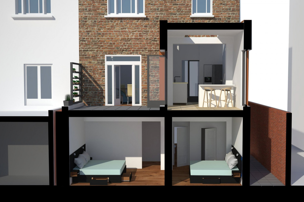 Architect designed rear house extension Tufnell Park Camden NW5 3D Section elevation 1200x800 Tufnell Park, Camden NW5   Rear house extension