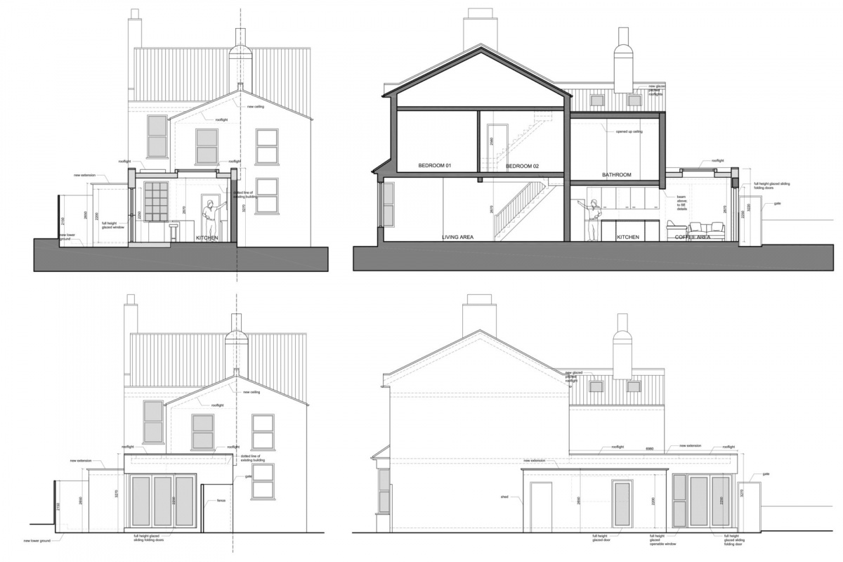 Enfield Chase EN2 Rear house extension refurbishment Sections and elevations 1200x800 Enfield Chase EN2|Rear house extension and refurbishment