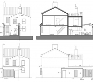 Enfield Chase EN2 Rear house extension refurbishment Sections and elevations 300x266 Enfield Chase EN2|Rear house extension and refurbishment
