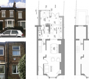 Finchley Central Barnet N3 rear house extension Floor plans 300x266 Finchley Central Barnet N3 | Rear house extension